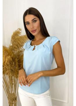 Блуза со сборками с декором, голубой