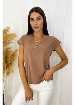 Блуза с V-образным вырезом, коричневый