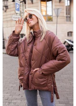 Дутая стёганная куртка,  коричневый