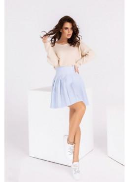 Плиссированная юбка мини, голубая