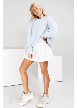 Плиссированная юбка мини, белая