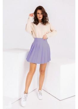 Плиссированная юбка мини, сиреневая