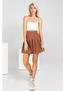 Плиссированная юбка мини, коричневая
