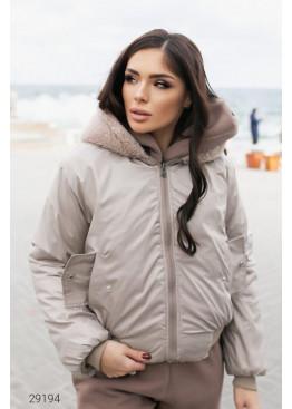Двусторонняя куртка с капюшоном, бежевый
