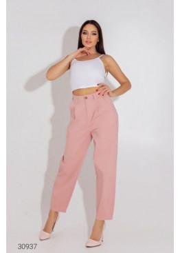 Джинсовые брюки-галифе с завышенной талией, розовый