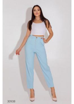 Джинсовые брюки-галифе с завышенной талией, голубой