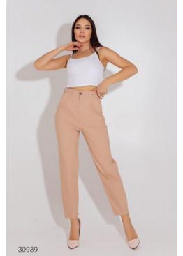 Джинсовые брюки-галифе с завышенной талией, светло-бежевый