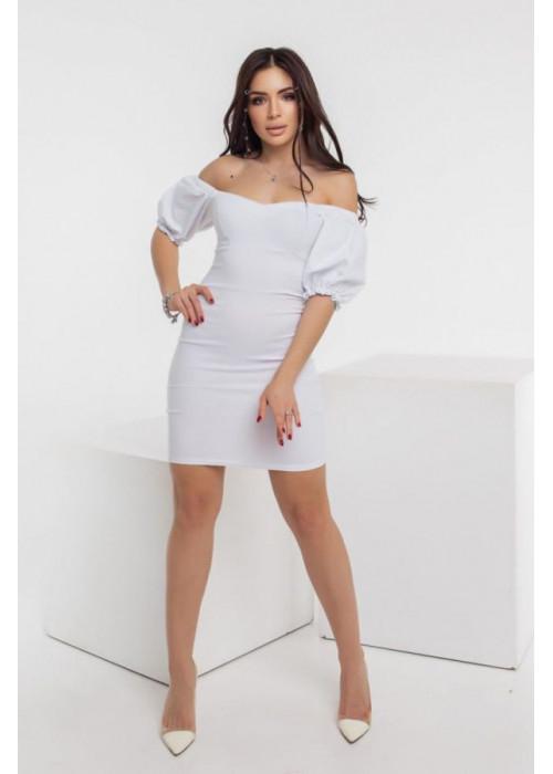 Джинсовое платье мини с объёмными рукавами, белое