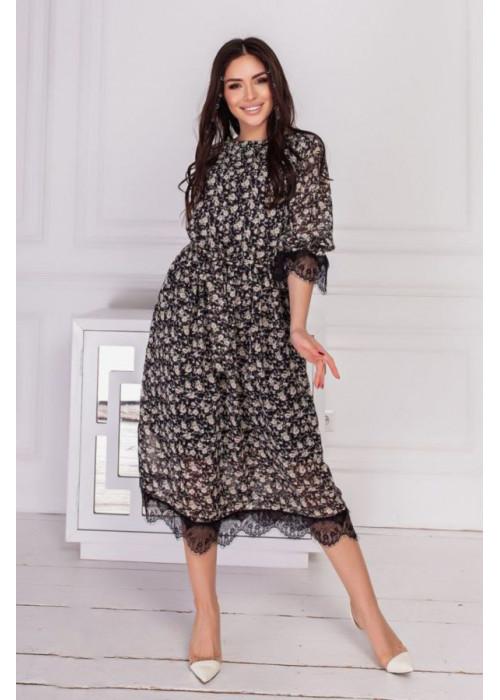 Платье миди с цветочным принтом и кружевом, беж