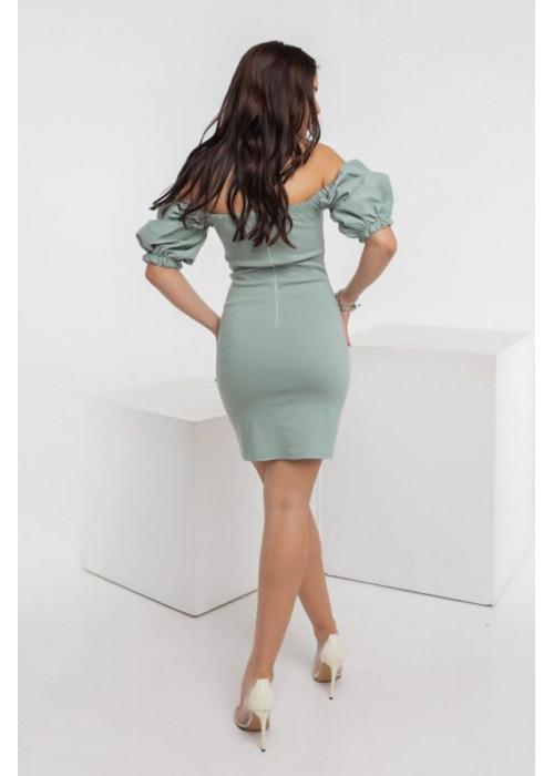 Джинсовое платье мини с объёмными рукавами, ментол