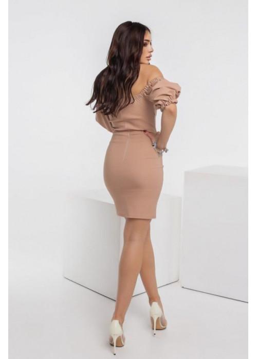 Джинсовое платье мини с объёмными рукавами, беж
