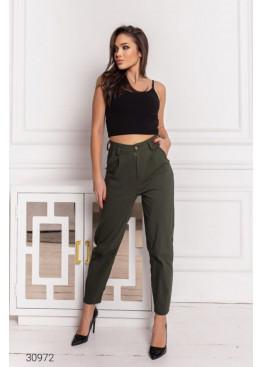 Джинсовые брюки-галифе с завышенной талией, хаки