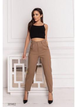 Джинсовые брюки-галифе с завышенной талией, коричневый