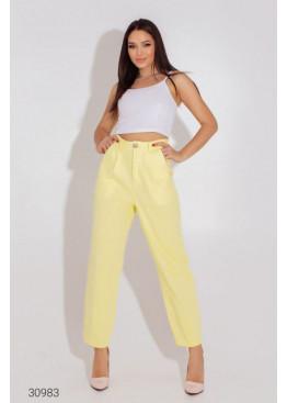 Джинсовые брюки-галифе с завышенной талией, желтый