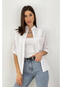 Рубашка с накладным карманом, белый