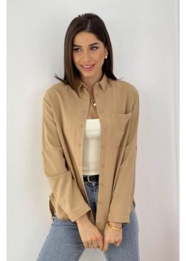 Рубашка с накладным карманом, бежевый