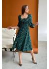 Платье миди с принтом в горох и разрезом, зеленый