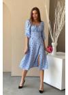 Платье миди с принтом в горох и разрезом, голубой