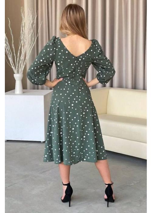 Платье миди с принтом в горох и разрезом, оливковый