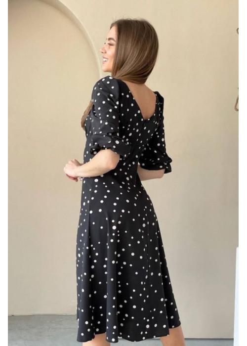 Платье миди с принтом в горох и разрезом, черный с белым
