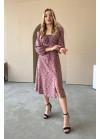 Платье миди с принтом в горох и разрезом, розовый