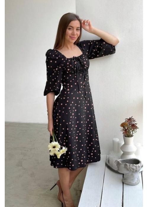 Платье миди с принтом в горох и разрезом, черный с бежевым