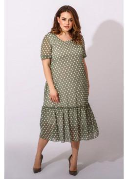 Шифоновое платье с принтом в горох, зеленый