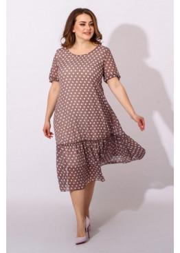 Шифоновое платье с принтом в горох, бежевый