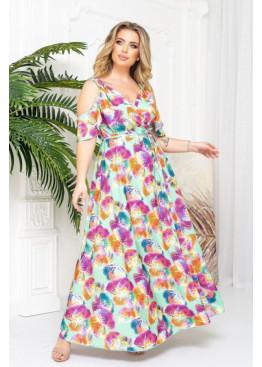 Платье макси с запахом и вырезами на плечах, ментоловий в цветы