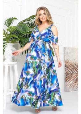 Платье макси с запахом и вырезами на плечах, синий в цветы