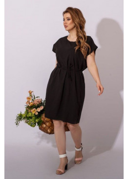 Платье-футболка с поясом, черный