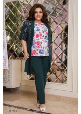Костюм из блузы с цветочным принтом, накидки и брюк, зеленый