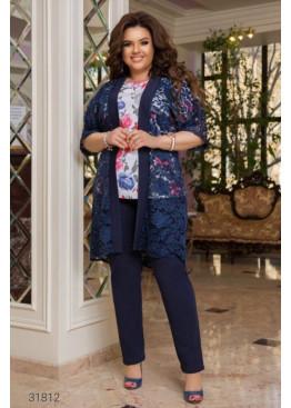 Костюм из блузы с цветочным принтом, накидки и брюк, синий
