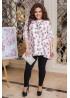 Костюм из блузы с цветочным принтом и леггинсов, белый
