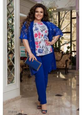 Костюм из блузы с цветочным принтом, накидки и брюк, электрик