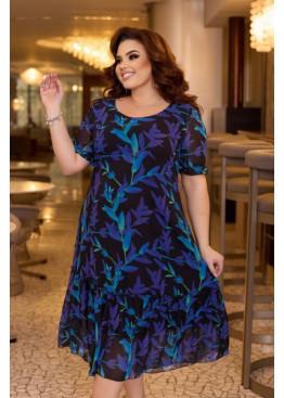 Шифоновое платье с цветочным принтом, сиреневый