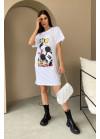 Платье-футболка оверсайз с принтом, белая