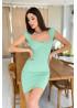 Вязаное платье-футляр в рубчик, ментол