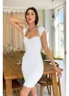 Вязаное платье-футляр в рубчик, белое