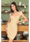 Вязаное платье-футляр в рубчик, беж