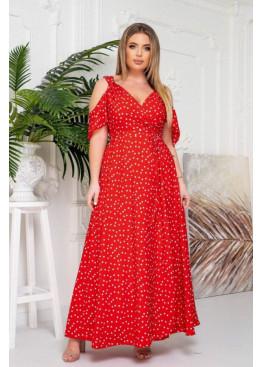 Платье макси с запахом и вырезами на плечах, красный в горох