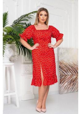 Платье с высоким разрезом, красный в горох