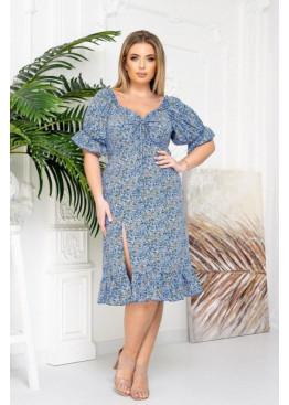 Платье с высоким разрезом, голубой в цветы