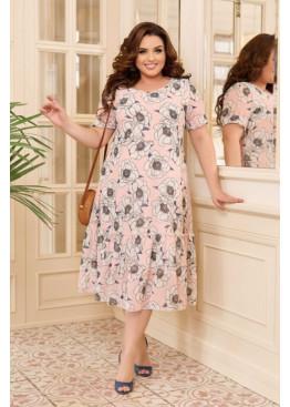 Шифоновое платье с цветочным принтом, розовый