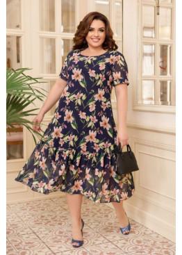 Шифоновое платье с цветочным принтом, синий