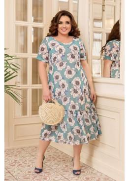 Шифоновое платье с цветочным принтом, ментоловый