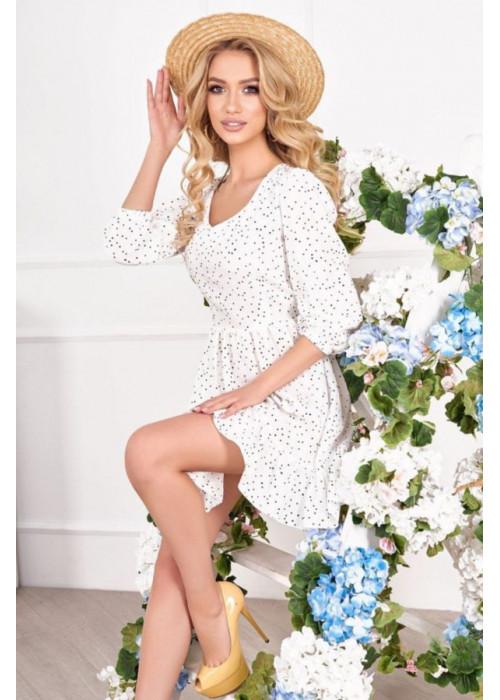 Платье мини с вырезом на спине, белое в горох