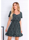 Платье мини с цветочным принтом, черное