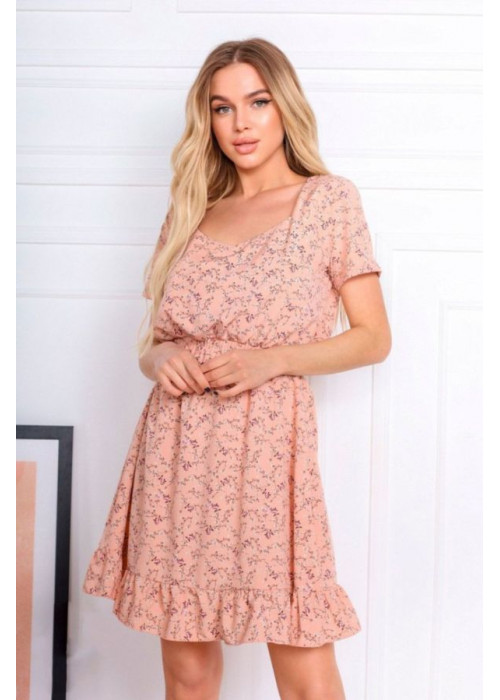 Платье мини с цветочным принтом, розовое