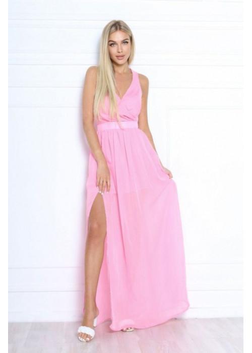 Шифоновое платье макси с высоким разрезом, розовое